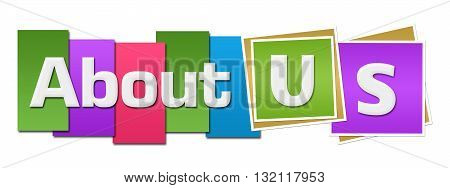 About us text alphabets written over colorful background.