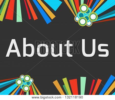 About us text written over dark colorful background.