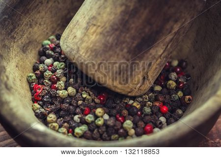 Pepper In Wooden Background/ Mixture Of Peppers Hot Pepper, Red Pepper, Black Pepper, White Pepper,