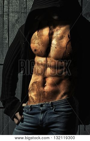 Double Exposure On Male Torso And Concrete Wall