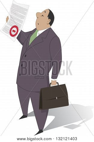 Bureaucrat holding a document with a red stamp, vector cartoon, no transparencies