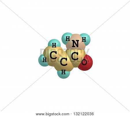 Acrylamide - acrylic amide - is a chemical compound. It is a white odorless crystalline solid soluble in water ethanol ether and chloroform. 3d illustration