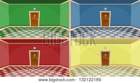 4 colors cartoon secret door concept. Empty rooms with door. Vector illustration