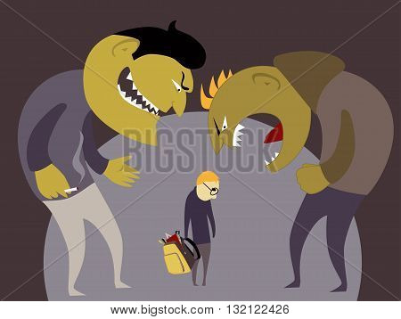 Two scary bullies abuse a little kid with a school backpack, vector illustration