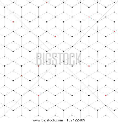 Abstract background with many hexagons with red and black circles on vertexes dots connected with lines