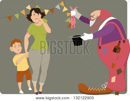 Scary clown with a bottle of liqueur in his pocket and a dead bunny in a magic hat showing a trick to a scared mother and a boy, vector cartoon