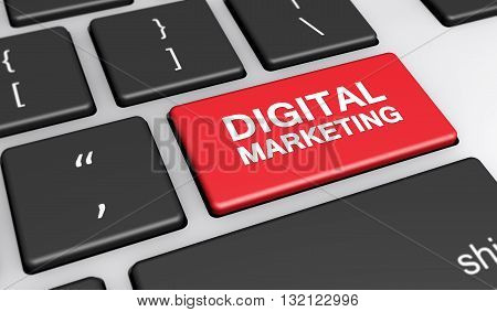 Online web and Internet marketing concept with digital marketing sign and text on a computer keyboard 3d illustration.