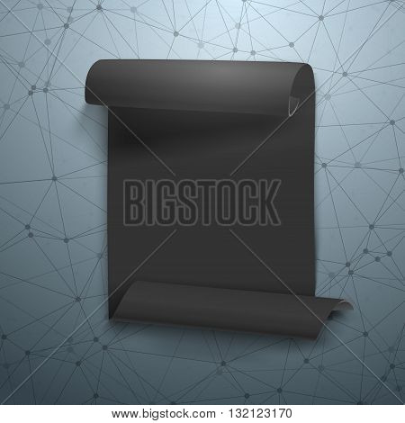 Illustration of Paper Ribbon Banner on Wireframe Technology Background. Twisted Banner Scroll with Geometric Polygonal Connection Background Illustration