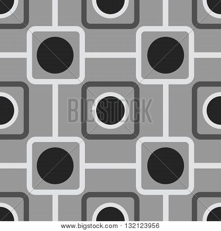 Seamless pattern with rounded squares and rounds. Vector illustration