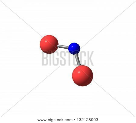 Nitrogen dioxide is the chemical compound with the formula NO2. It is one of several nitrogen oxides. NO2 is an intermediate in the industrial synthesis of nitric acid. 3d illustration