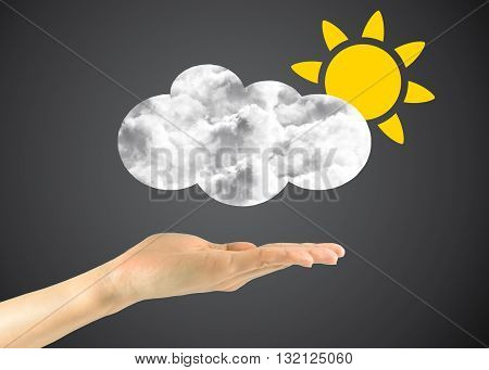 Icon Sun With Clouds In The Man's Hand