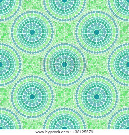 Green colors dotted circles vector seamless pattern