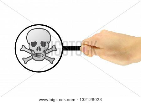 Man's Hand With A Magnifying Glass Found A Malicious Virus