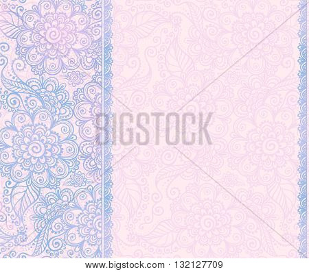 Trendy blue and pink colors vector floral hand drawn background