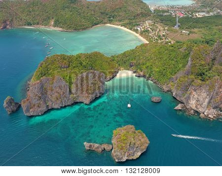 Phi-Phi islands from birdseye view in Thailand