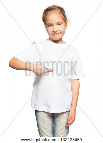 Child in white t-shirt. Girl isolated on white