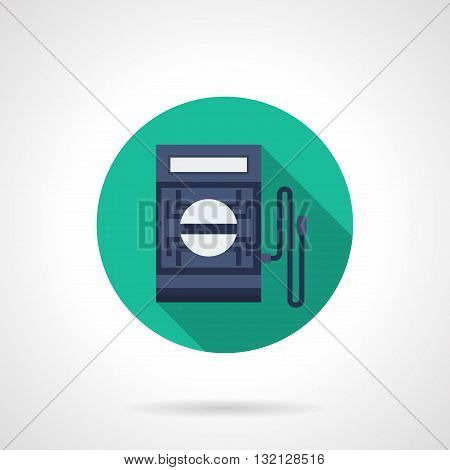 Digital multimeter for measuring DC and AC voltage and current, resistance, diode tests. Equipment for radio amateurs and professionals. Round flat color design vector icon.