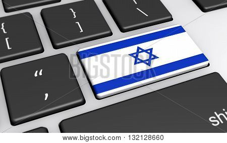 Israel digitalization and use of digital technologies concept with the Israeli flag on a computer key 3d illustration.