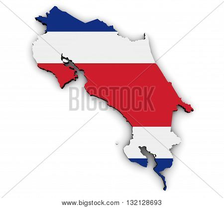 Costa Rica shape and map with Costa Rican flag symbol 3D illustration isolated on white background.