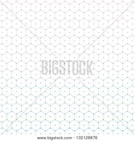 Abstract background with many gradient colored hexagons with circles on vertexes dots connected with lines