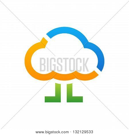 Colorful blue orange and green walking cloud with legs vector illustration isolated on white background.