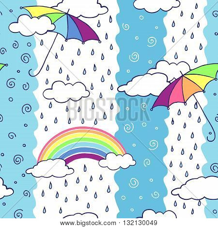Seamless pattern with colorful umbrellas and rainbow. Vector illustration.