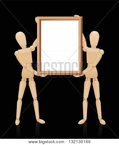 Wooden mannequins holding blank wooden picture frame, high size format. Isolated vector illustration on black background.