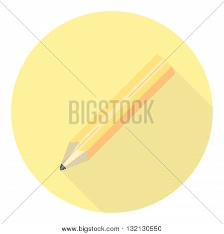 Pencil Icon With Long Shadow Flad Design