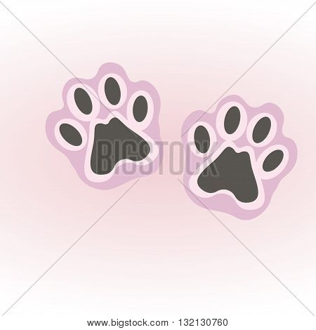 vector illustration with cat footprints on a white background
