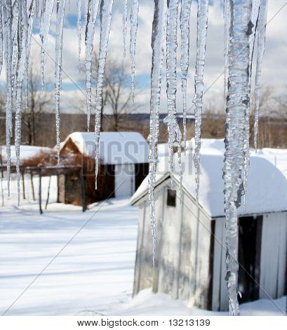 Farm view through icicles