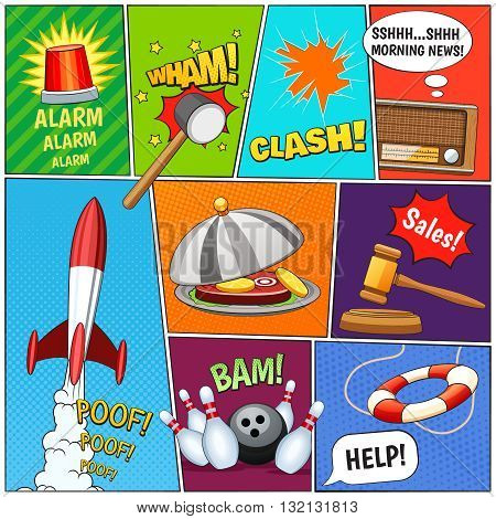 Comic book page panels composition with alarm rocket old tv news text balloons symbols abstract vector illustration