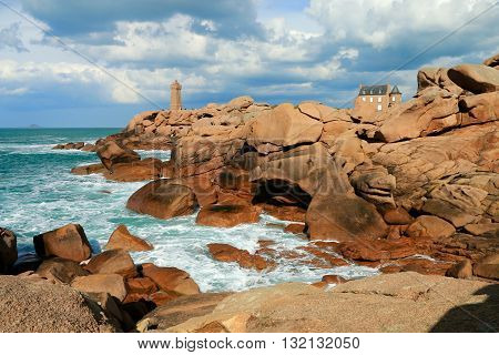 The Breton lighthouse of the path of the customs officers, PERROS Guirec, BRITTANY, FRANCE