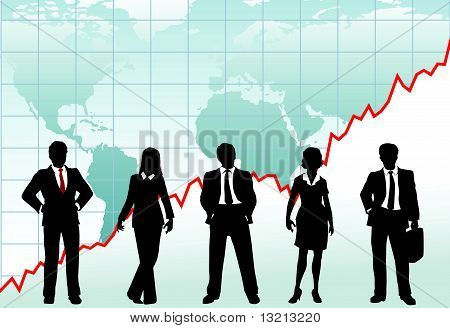 Business People Success Chart Global Growth World Map