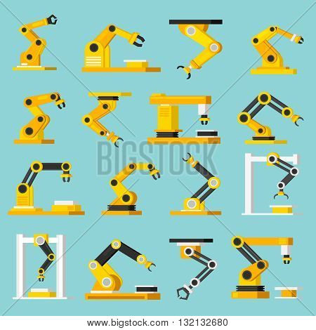 Industrial mechanical automation conveyor robotic hands for manufacture orthogonal flat isolated icons set on light blue background vector illustration