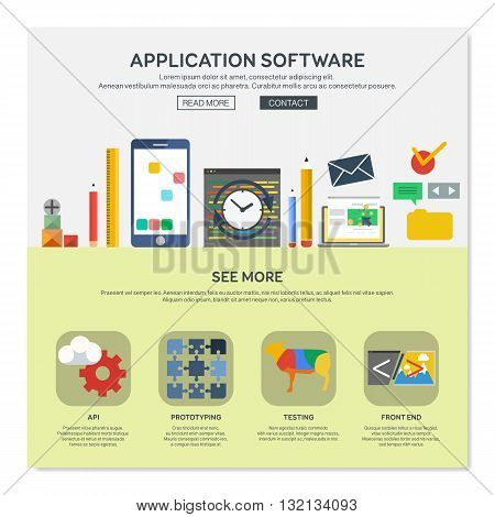 One page web design template with application software services like api or prototyping. Flat design graphic website elements layout. Vector illustration.