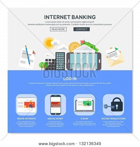 One page web design template with internet banking services like online payments or e-bank. Flat design graphic website elements layout. Vector illustration.