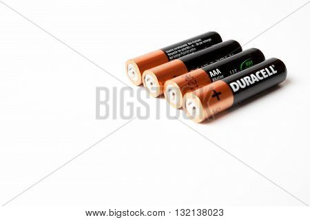 Gdansk Poland - May 20 2016: Four Duracell AAA batteries isolated on a white background.