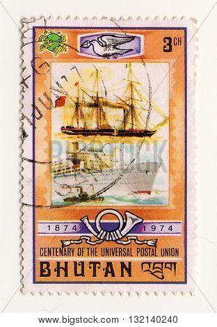 Bhutan circa 1970 Postage stamp of Bhutan Post airmail