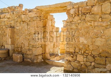 The ruins of the ancient city. Shivta Nabataean Town on the ancient spice route in the Negev Desert Israel