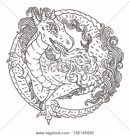 Round Dragon Coloring Page