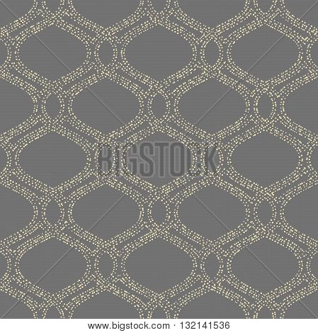 Seamless vector ornament. Modern geometric pattern with repeating dotted golden wavy lines