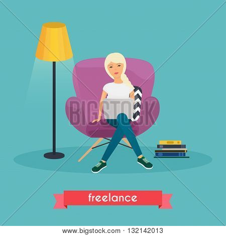 Girls working at home. Young woman sitting on a chair and using laptop at home. Freelance work from home self employed home office work at home freedom in living room. Work at home concept. poster
