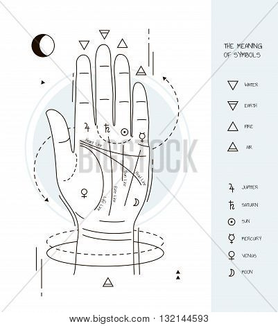 palmistry symbols. Hand with lines and symbols. Symbol characters.