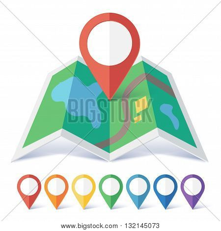 Vector flat map marker symbols colors set with preview on green map