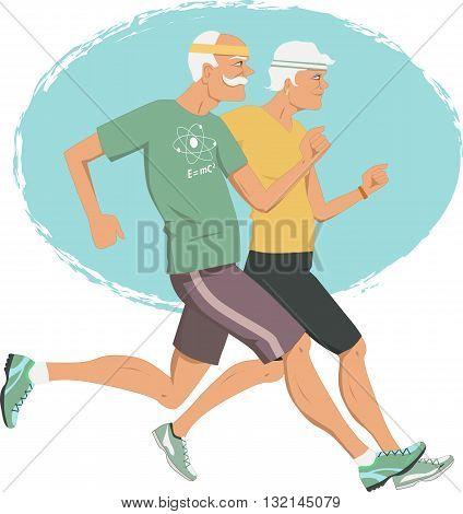 Active retirement. Elderly couple jogging, vector illustration