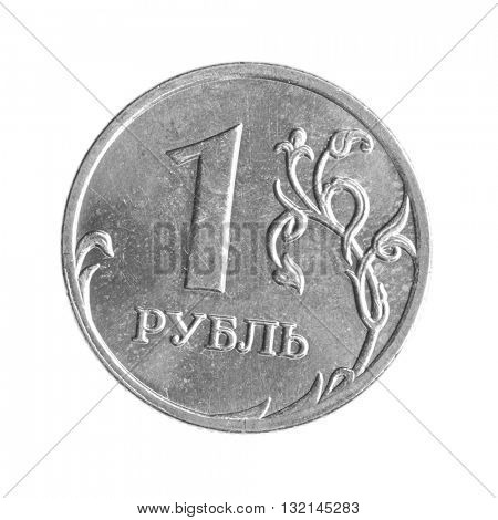 Russian one ruble coin isolted over the white background