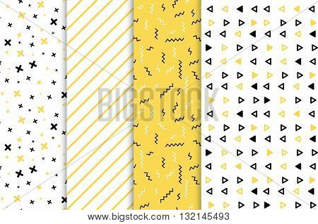 Set of 4 seamless patterns in yellow colors with geometric elements. Patern hipster style. Paterna suitable for posters, postcards, fabric or wrapping paper