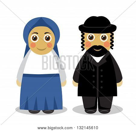 Cartoon cute husband and wife Jews in traditional dress on a white background