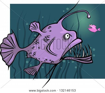 Angler fish lures little fish to a light, vector cartoon