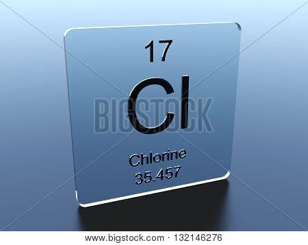 Chlorine symbol on a blue glass square 3D render